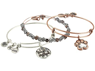 Alex and Ani Paws and Reflect Set of 3, Two-Tone Bangle Bracelet (Rafaelian Rose Gold) Bracelet