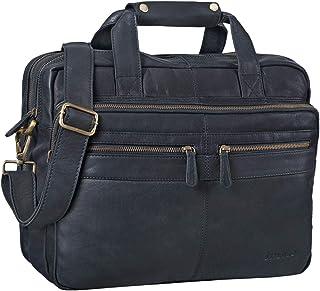 """STILORD Explorer"""" Lehrertasche Leder Herren Damen Aktentasche Büro Schulter- oder Umhängetasche für Laptop mit Dreifachtrenner Echt Leder Vintage"""