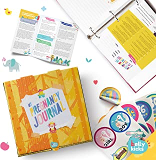 Belly Kicks Baby Memory Book Weekly Scrapbook Album Pregnancy Journals for First Time Moms Books with Milestone Stickers and Keepsake Box Baby Tracker Journal