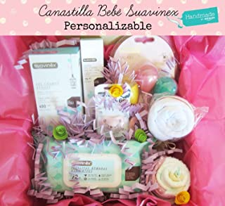 Canastilla para Bebés con Productos SUAVINEX, Body, Pañales y Baberos de marca | Disponible en 4 tamaños (S, M, L y para G...