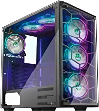 MUSETEX Phantom Black ATX Mid-Tower Case, 6 RGB Fans USB3.0 Honeycomb Airflow 2 Tempered Glass Panels, Gaming PC Case Comp...