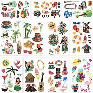 Hsei 316 Pieces Hawaiian Luau Themed Temporary Tattoos Tropical Tattoos for Tropical Hawaiian Summer Beach Party Decoration Supplies, 79 Styles