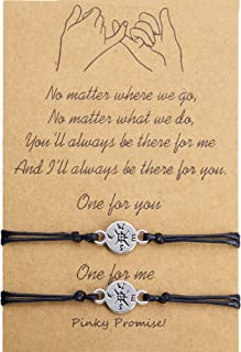 DESIMTION Pinky Promise Friendship Gift for Best Friend Long Distance Matching Bracelets for Sister Mother Daughter BFF