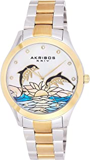 Akribos XXIV AK953TTG Women's Case with Genuine Swarovski Crystals and White Mother-of-Pearl Dial with Stainless Steel Bracelet Watch