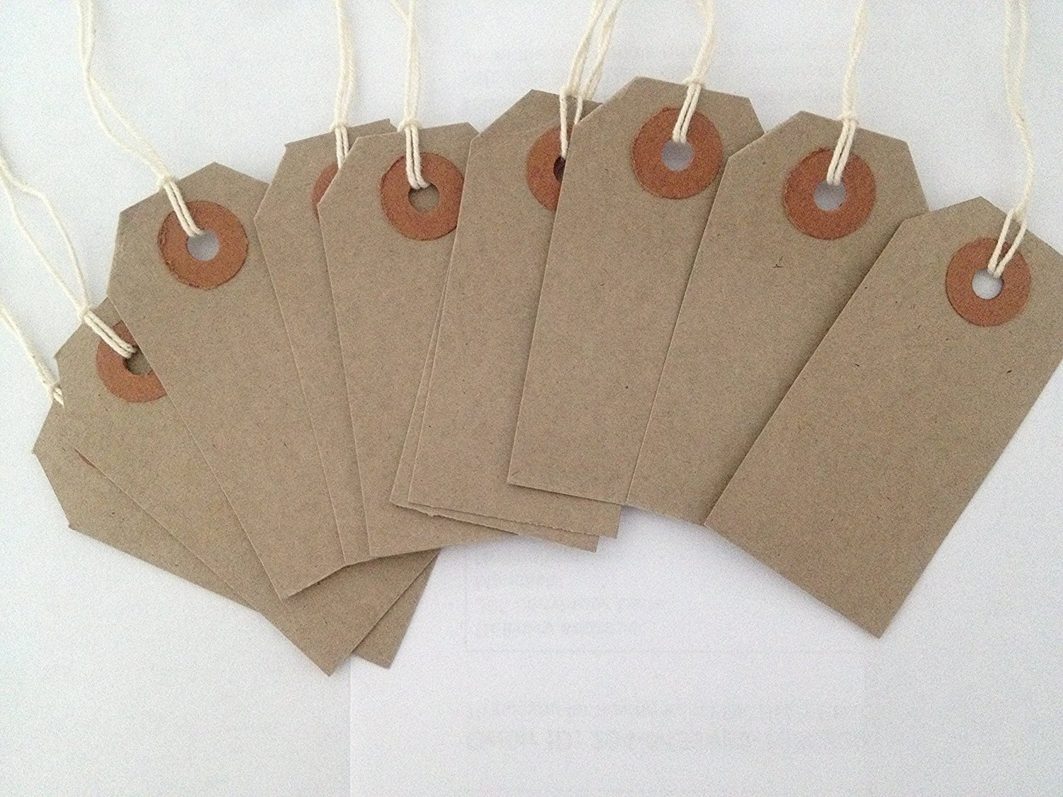 50 Small Brown/Buff (Manilla) Strung 70x35mm Tag/Tie On Luggage ...