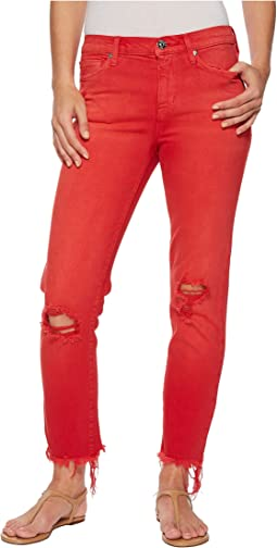Zoeey Mid-Rise Crop Raw Hem Jeans in Red Alert