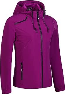 UDAREIT Womens Windbreaker Jacket Waterproof Rain Coat Hooded Hiking Running