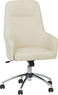 "Amazon Brand – Stone & Beam Modern Upholstered High-Back Swivel Chair, 25.2""W, Beige"