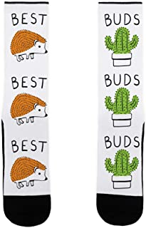 Best Buds Hedgehog Cactus White US Size 7-13 Socks by LookHUMAN
