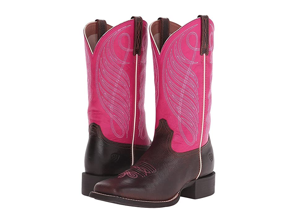 Ariat Round Up Square Toe (Wicker/Hot Pink) Cowboy Boots