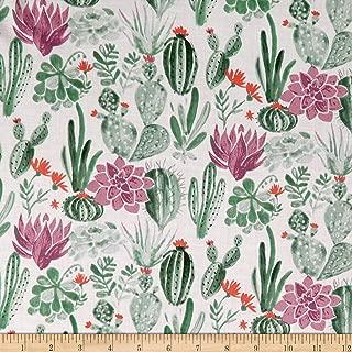 Monaluna Organic Lawn Journey Dry Garden Fabric, White/Green, Fabric By The Yard