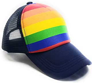 Pride Rainbow Stripes Snapback Hat LGBT Bright Mesh Trucker Baseball Cap
