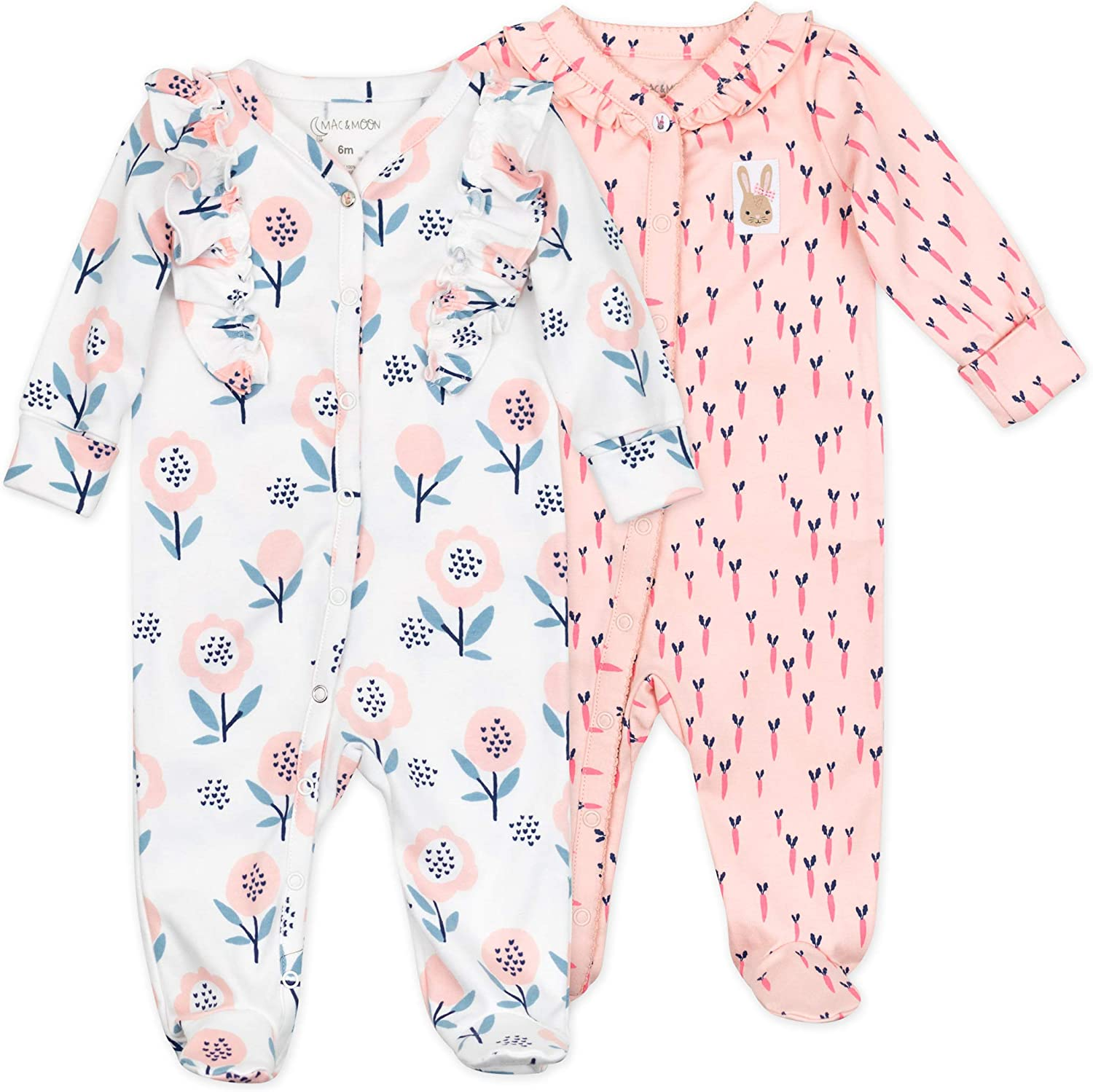 Organic Cotton 2-Pack Footed Sleep Play Brand Cheap Sale Venue ! Super beauty product restock quality top! Moon Mac Bo Baby By