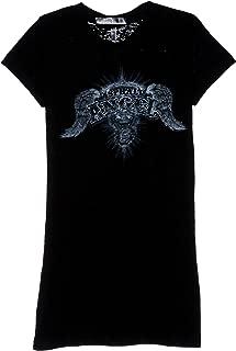 Hot Leathers Asphalt Angel Ladies Burnout Short Sleeve Biker T-Shirt (Black, Medium)