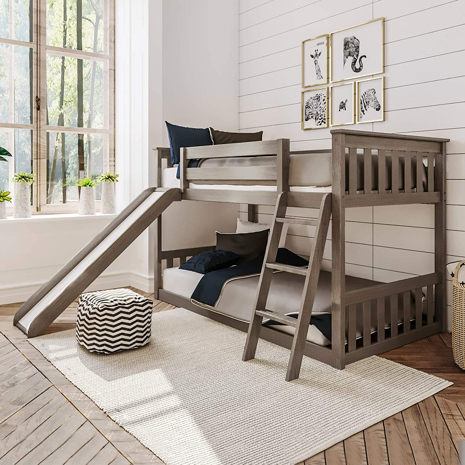 Sales results No. 1 Max Lily Solid Wood Twin Low Clay Slide Bunk Bed with Max 78% OFF