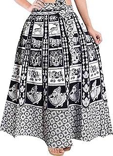 UrbanEra Ethnic Sanganeri Print Cotton Black & white Wrap Round Skirt - Free Size