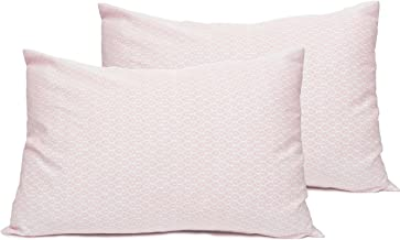 2 Toddler or Travel Pillowcases in Organic Cotton to Fit 13 x 18 and 14 x 19 Pillow, Geo Leaf Print (Rose)