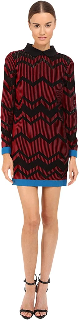 Bicolor Mesh Long Sleeve Zigzag Dress