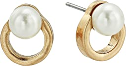 Pearl Circle Stud Earrings