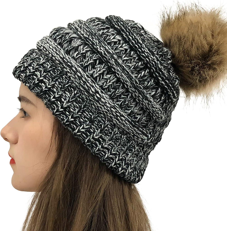 Womens Winter Knit Beanie Pom Pom Hats Faux Fur Ball Cap Thick Warm Hat Ski Hat for Womens