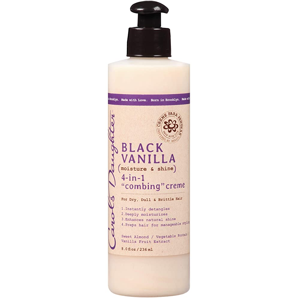 Carol's Daughter Black Vanilla Moisture & Shine 4-in-1 Combing Creme For Dry Hair and Dull Hair, with Sweet Almond Oil and Vanilla Fruit Extract, Hair Detangler, 8 fl oz (Packaging May Vary)