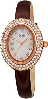 Swarovski Crystals Oval Watch – Genuine Swarovski Studded Double Row Crystals, Patent Leather Strap, 12 Crystal Markers On Mother of Pearl Dial - Mother's Day Gift- BUR234