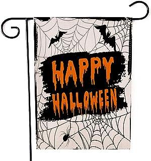 "Fiuqaomy Happy Halloween Cobweb Bat Garden Flag Vertical Double Sized, Holiday Burlap Yard Outdoor Decoration 12.6"" 18.5"""