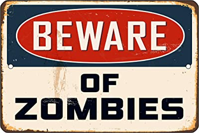 Fhdang Decor Plaque en métal Zombies Halloween Walking Dead inspirée de la Porte de la Chambre des Morts Vivants, dortoir de l'Homme de la Grotte de la Barre de Jeu, Métal, Multicolore, 8x12 inches
