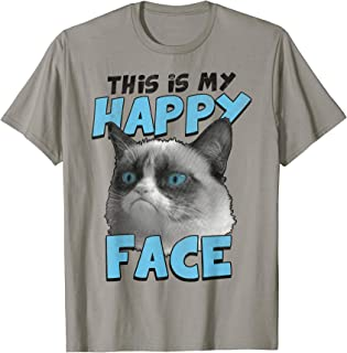 This Is My Happy Face Blue Text Graphic T-Shirt