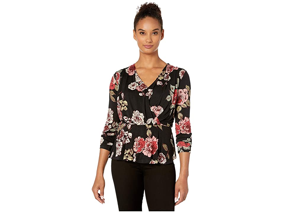 Bobeau Long Sleeve Faux Surplus Knit Top (Black Rose Print) Women's Clothing