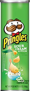 Pringles Potato Crisps - Sour Cream and Onion Flavored Salty Snack, Game Day Party Food (5.5 oz Can)