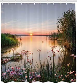 """Ambesonne Nature Shower Curtain, Sunset at Chudskoy Lake Estonia View Spring Flowers Landscape Photo, Cloth Fabric Bathroom Decor Set with Hooks, 84"""" Extra Long, Green Pink"""