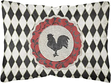 Caroline's Treasures SB3086PW1216 Rooster Harlequin Black and White Canvas Fabric Decorative Pillow, 12H x16W, Multicolor