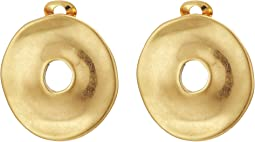 Gold Disc Clip Earrings
