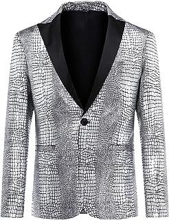 Allthemen Mens Casual Blazer Tuxedo Suit Jacket Regular Fit Snakeskin Pattern One Button Dress Blazer