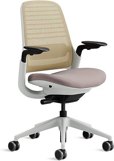 Steelcase Series 1 Bürostuhl mit Netzrücken in Beige und Sitzbezug in Linse