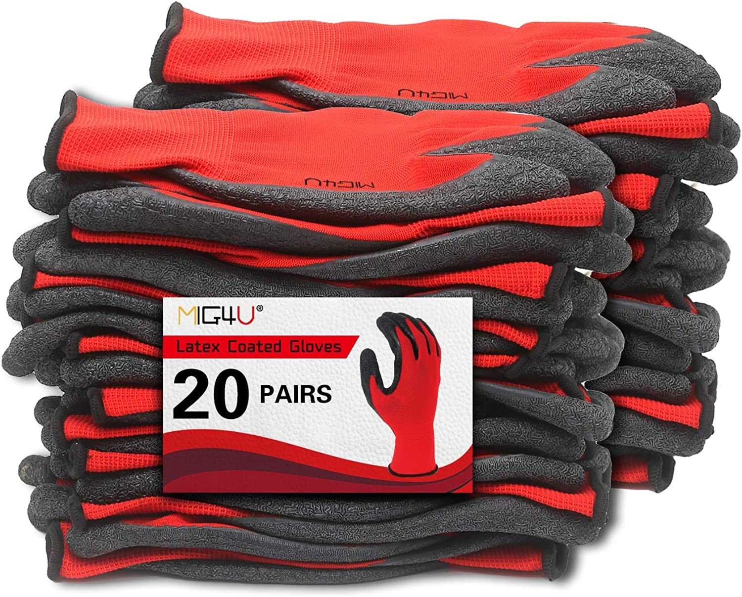 MIG4U Latex Grip overseas Gloves for Package H Max 84% OFF Work Gardening Warehouse