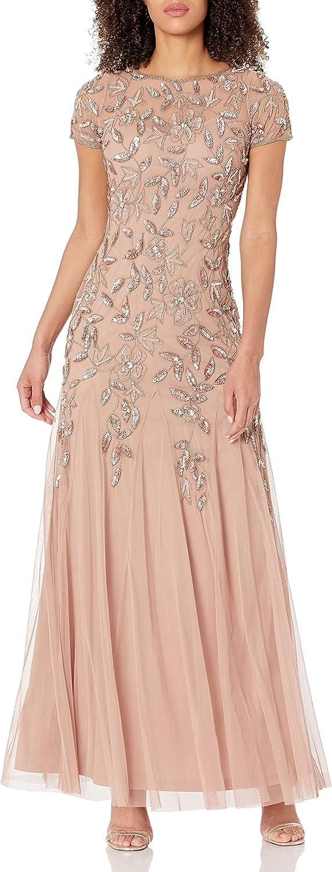 1920s Style Dresses, 20s Dresses Adrianna Papell Womens Beaded V-Neck Blouson Gown  AT vintagedancer.com