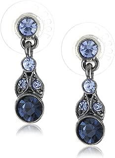 Hematite-Tone and Tonal Blue Drop Earrings