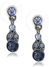 1928 Jewelry Hematite-Tone and Tonal Blue Drop Earrings