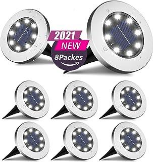 FLOWood Lumière Solaire Extérieur, 8 LED 8 Pack Spot Lampe Solaire Jardin Etanche IP65 Pelouse Lumière Decorative Pour Che...