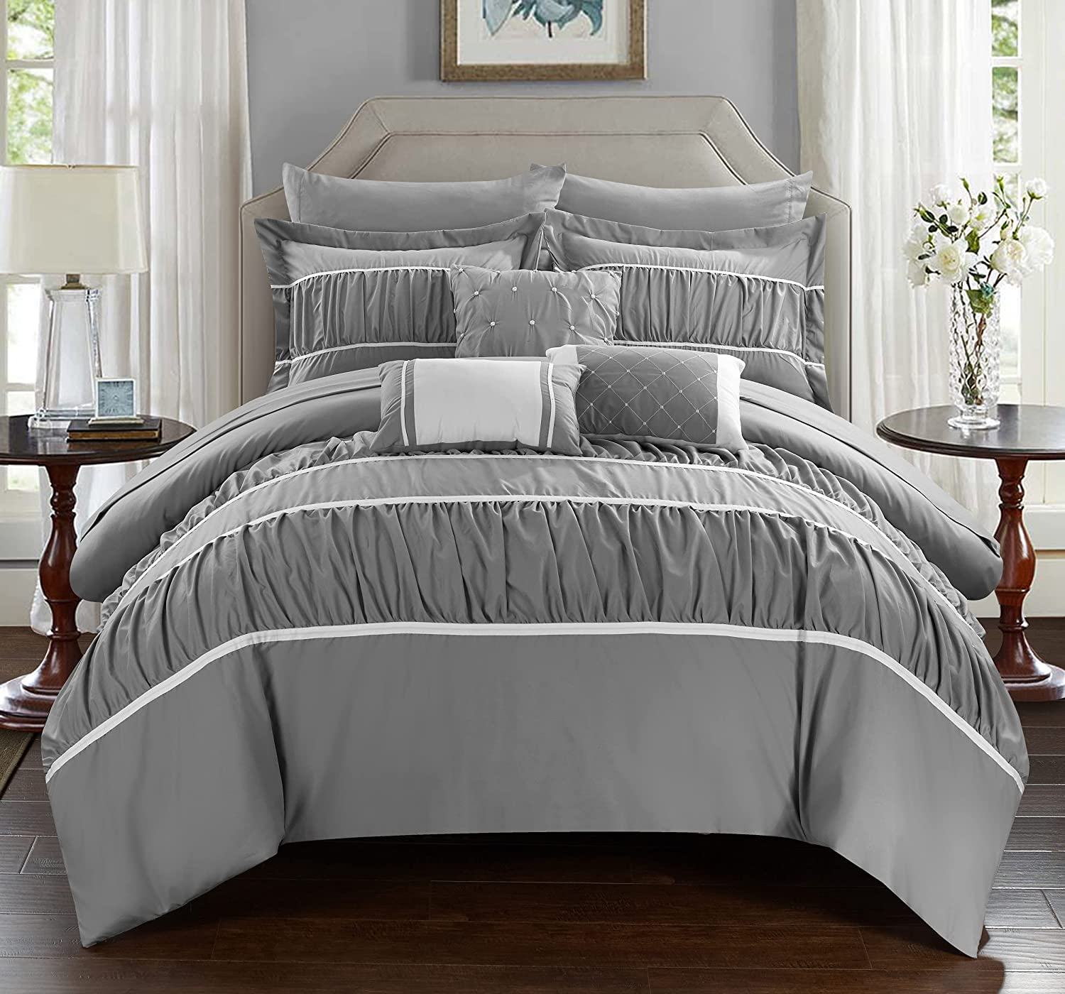 Chic Home CS2115-AN Cheryl Ranking TOP5 Comforter Our shop most popular Grey King