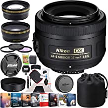 Nikon AF-S DX Nikkor 35mm F/1.8G Lens Bundle with Photo and Video Professional Editing Suite, Cleaning Kit for DSLR Cameras, 52mm Filter Kit and Accessories (8 Items)