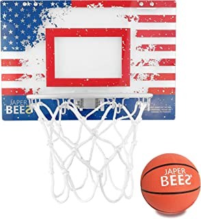 JaperBees Retro Patriotic Thick Shatterproof Backboard Over Door Mini Basketball Hoop