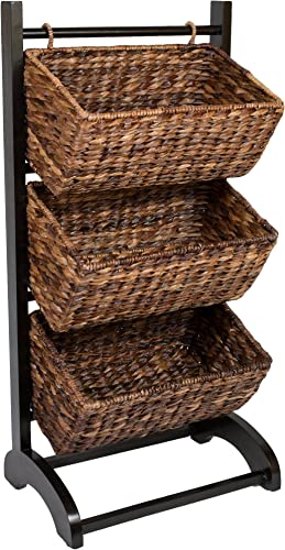 discount BIRDROCK HOME 3-Tier Abaca Storage Organizer Shelf - Brown - Extremely Durable Abaca Fiber - Solid Wood Frame - 3 Baskets - Great Cubby for Food, Fruit, Toys, 2021 Clothes, Towels, sale etc - Display Tower sale