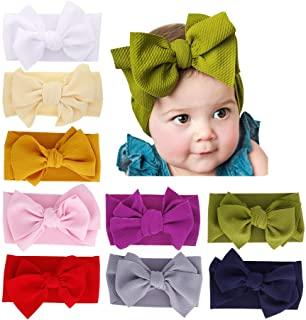 inSowni 9 Pack Solid Big Bow Stretchy Headbands Hair Accessories for Baby Girls Toddlers Kids