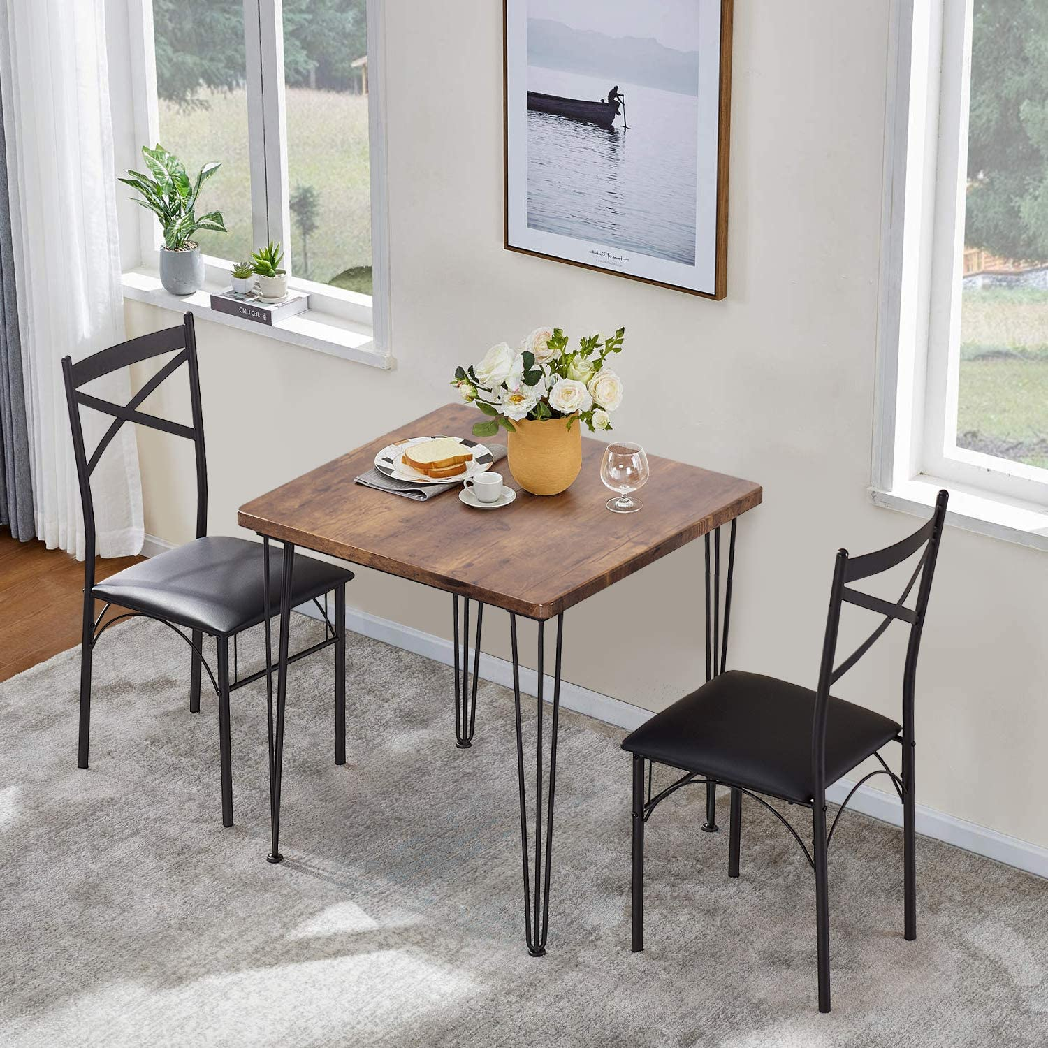 Buy VECELO 9 Piece Dining Table Set 9 Chairs with Metal Legs for ...