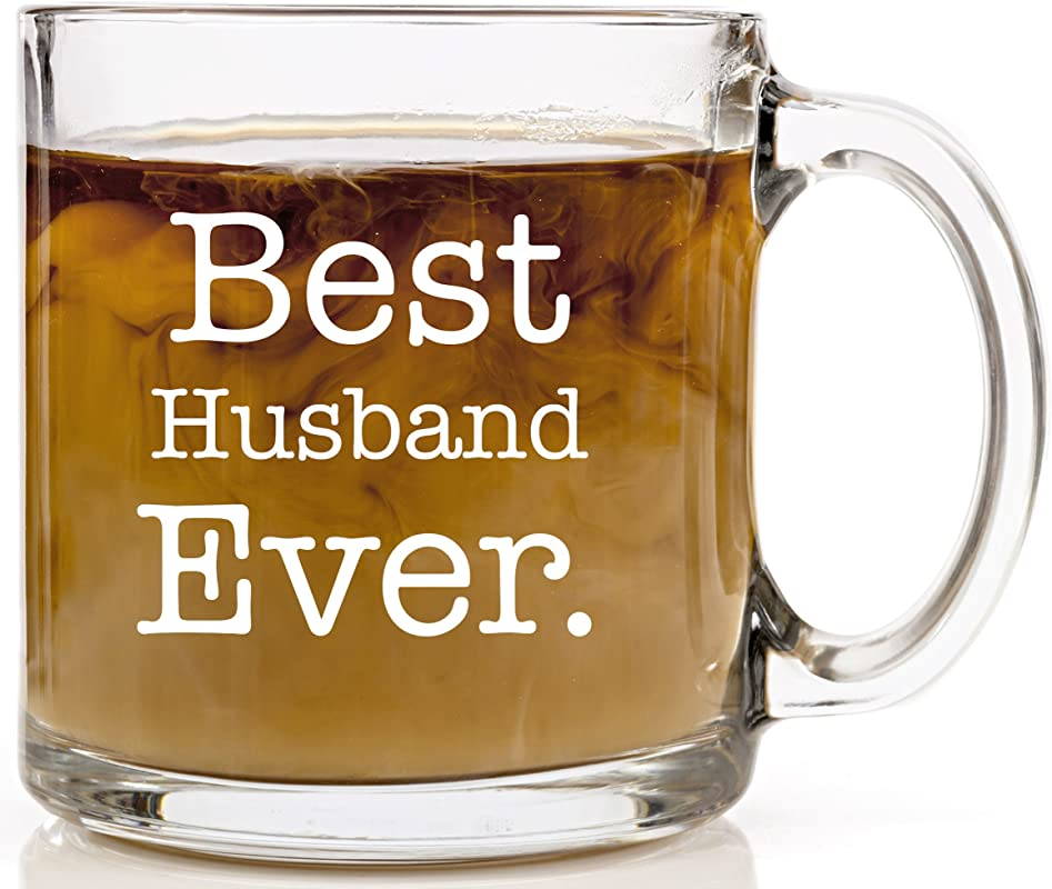 Best Husband Ever Coffee Mug Husband Gifts From Wife For Birthday Wedding Anniversary 13 Oz Glass Mug Best Fiance Engagement Gift For Him Funny Mugs For Men Fathers Day Present For Dad