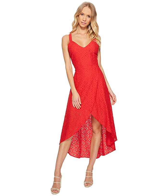 J.O.A. Lace Tulip Hem Open Back Dress (Red Lace) Women
