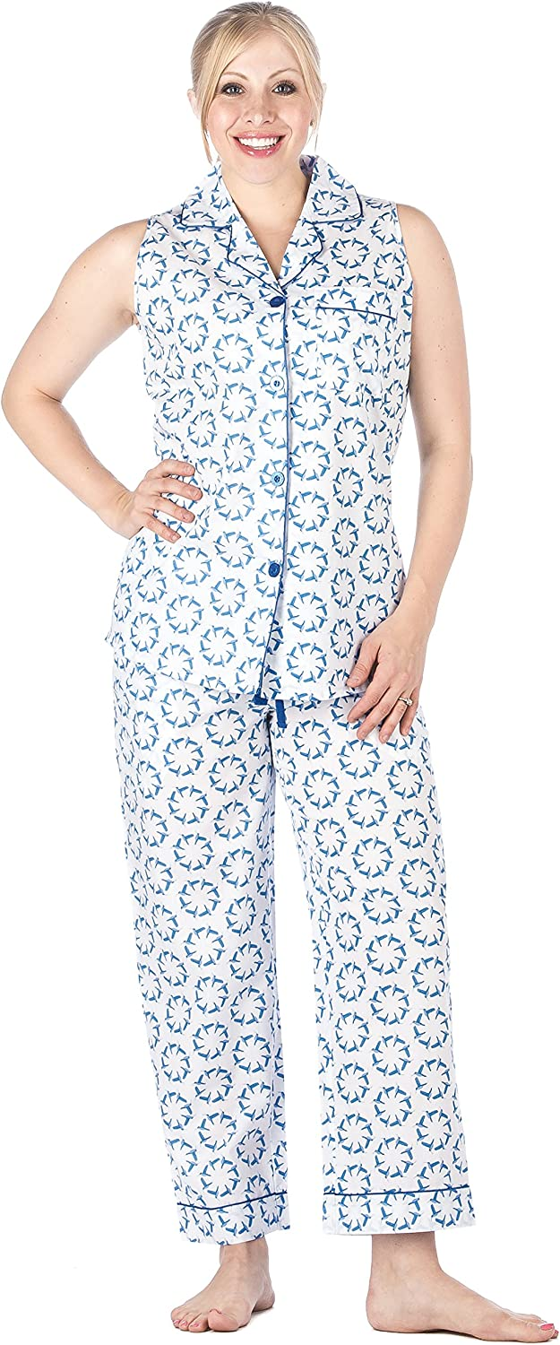 Noble Mount Womens Premium 100% Cotton Poplin Sleeveless Pajama Set